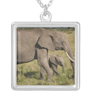 African Elephant and cub (Loxodonta africana), Square Pendant Necklace