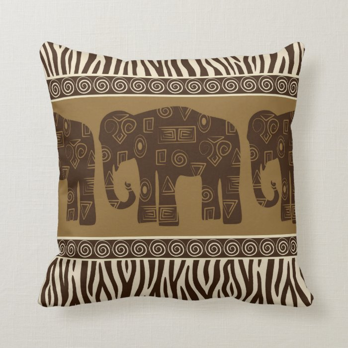 African Elephant and Zebra Skin Pattern Throw Pillow