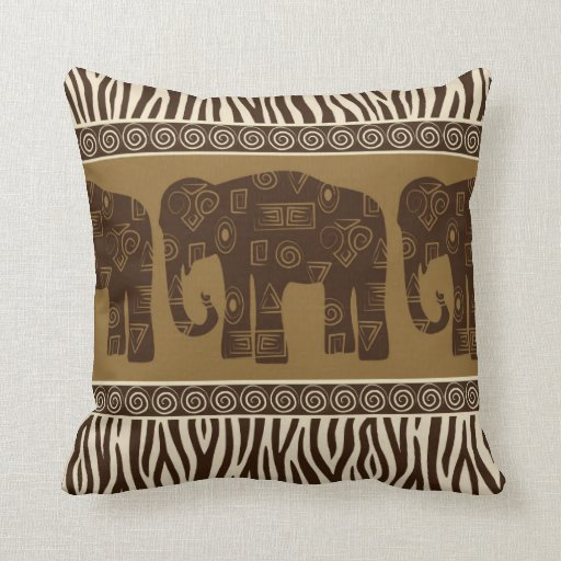African Elephant and Zebra Skin Pattern Throw Pillows