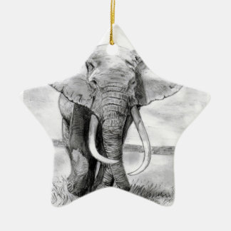 african elephant drawing in pencil design ceramic ornament