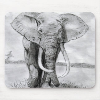african elephant drawing in pencil design mouse pad
