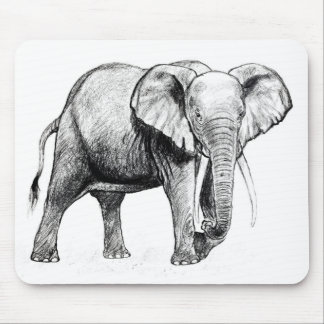 African elephant drawing mouse pad