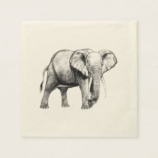 African elephant drawing napkin