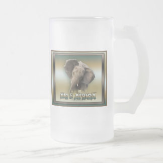 African elephant frosted beer stein coffee mug