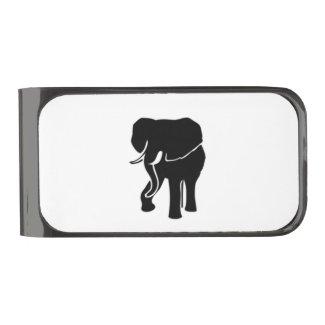 African Elephant Gunmetal Finish Money Clip