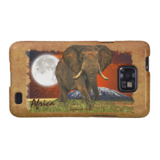 African Elephant & Moon II Cell Phone Case Galaxy S2 Case