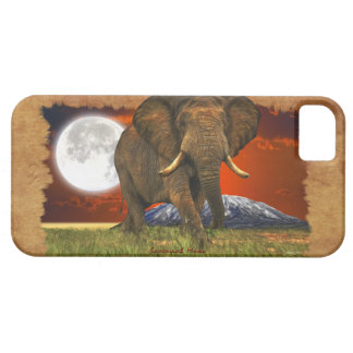 African Elephant & Moon II Cell Phone Case iPhone 5 Cases