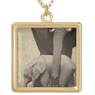 African Elephant mother with baby walking 2 Gold Plated Necklace