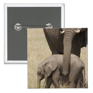 African Elephant mother with baby walking 2 Pinback Button
