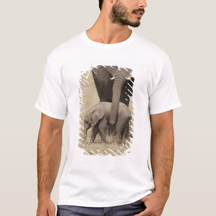 African Elephant mother with baby walking 2 T-Shirt