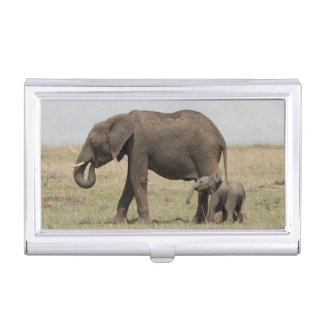 African Elephant mother with baby walking Business Card Case