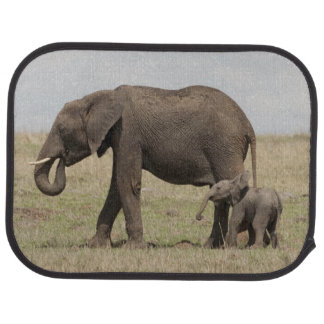African Elephant mother with baby walking Car Mat