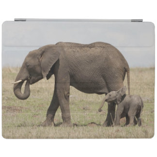 African Elephant mother with baby walking iPad Cover