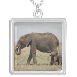 African Elephant mother with baby walking Pendant