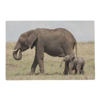 African Elephant mother with baby walking Placemat