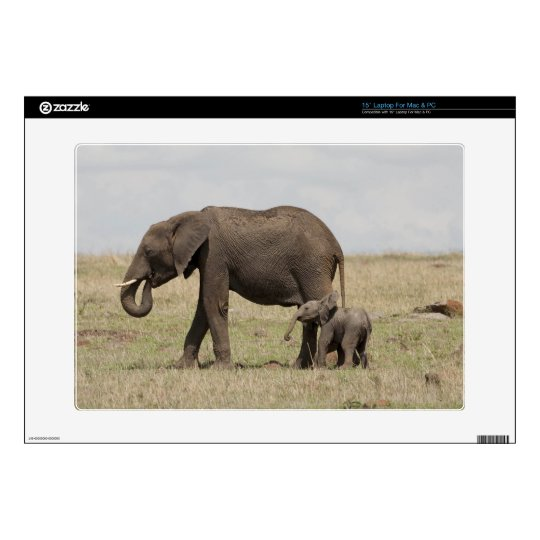 African Elephant mother with baby walking Skin For Laptop