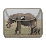 African Elephant mother with baby walking Sleeves For MacBook Pro