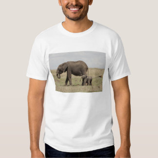 African Elephant mother with baby walking T Shirt