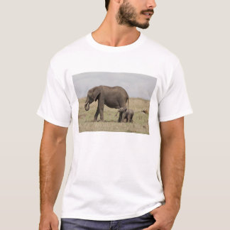 African Elephant mother with baby walking T-Shirt