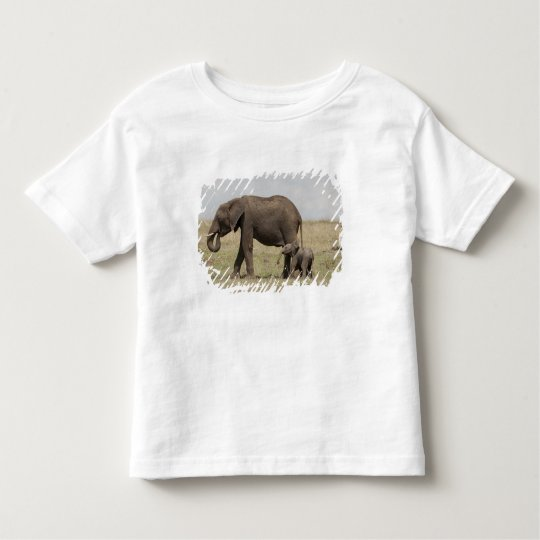 African Elephant mother with baby walking Toddler T-shirt
