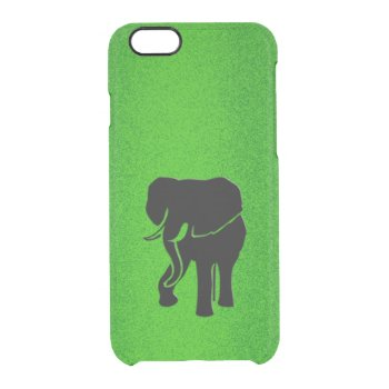 African Elephant on Green Clear iPhone 6/6S Case