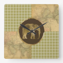 African Elephant on Map and Argyle Square Wall Clock