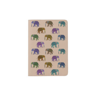 African Elephant Pattern Passport Holder