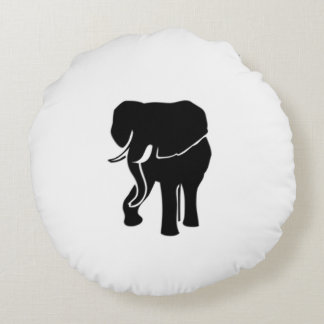 African Elephant Round Pillow