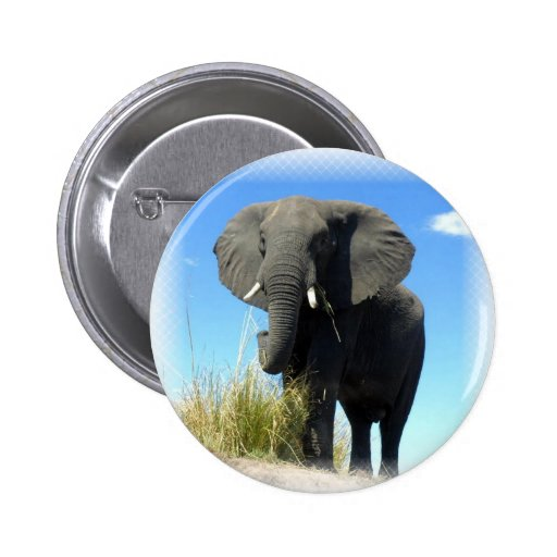 African Elephant Round Pin