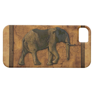 African Elephant & Rustic BG Cell Phone Case iPhone 5 Cover