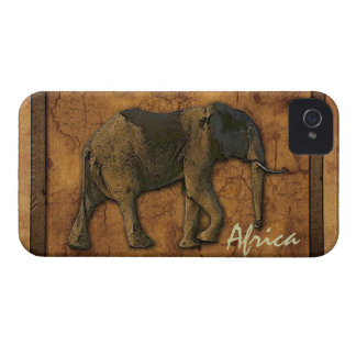 African Elephant & Rustic BG Phone Device Case iPhone 4 Case