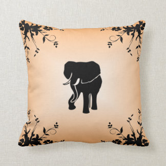 African Elephant Salmon Mojo Throw Pillow