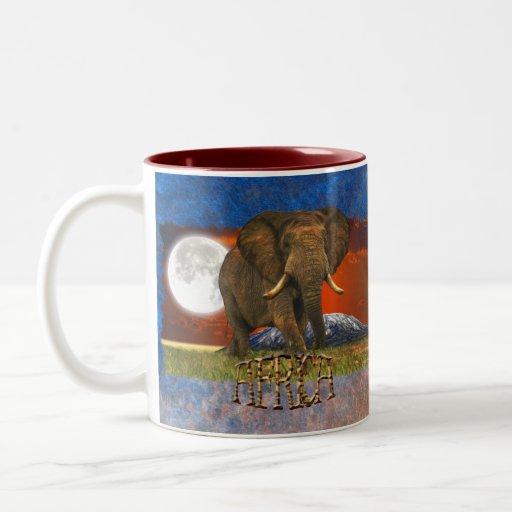 African Elephant & Savannah Moon AFRICA Mug