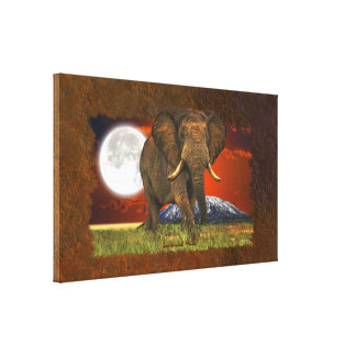 African Elephant & Savannah Moon Art Design Stretched Canvas Prints