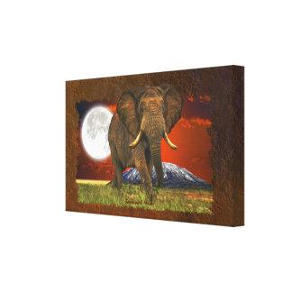 African Elephant & Savannah Moon Art Design Gallery Wrap Canvas