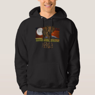African Elephant & Savannah Moon Art Design Hoodie