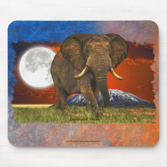 African Elephant & Savannah Moon Art Design Mouse Pad