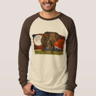 African Elephant & Savannah Moon Art Design T-Shirt