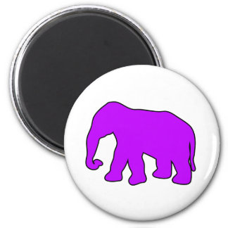 African Elephant Silhouette Ivory Tusks Dumbo 2 Inch Round Magnet