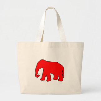 African Elephant Silhouette Ivory Tusks Dumbo Large Tote Bag
