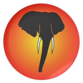African Elephant Silhouette Plate