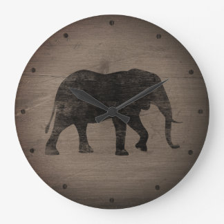 african elephant silhouette rustic style large clock