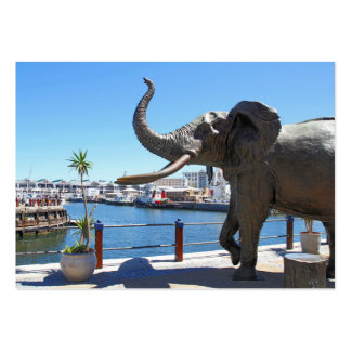 African Elephant statue in Cape Town Business Card Template