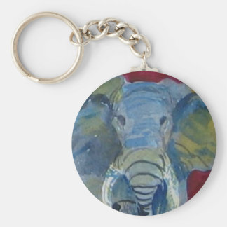 African Elephant via watercolor aceo animal art Basic Round Button Keychain