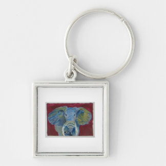 African Elephant via watercolor aceo animal art Keychain