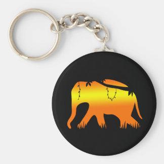 African Elephant Walking at Dawn Keychain