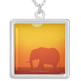 African elephant walking at sunset , Kenya Silver Plated Necklace