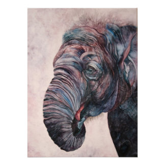 African Elephant Watercolor Canvas Print