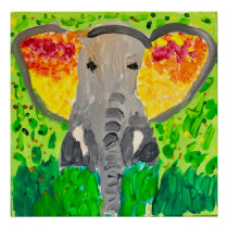 African elephant watercolour poster