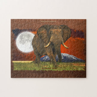African Elephant with Moon & Mt Kilimanjaro Puzzle